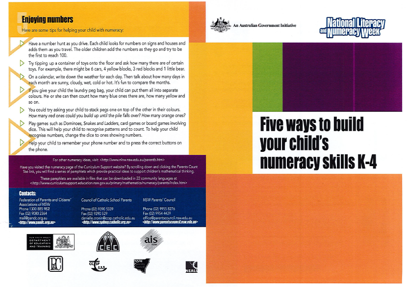 Five Ways to build your Child's Numeracy Skills K-4